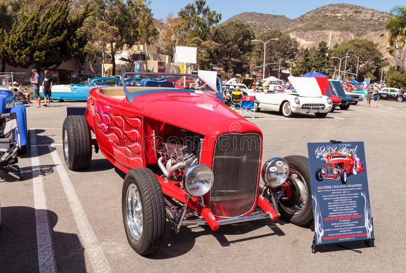 Red 1932 Ford Roadster Hi-Boy. Laguna Beach, CA, USA - October 2, 2016: Red 1932 Ford Roadster Hi-Boy owned by Bob Whaler and displayed at the Rotary Club of stock photos