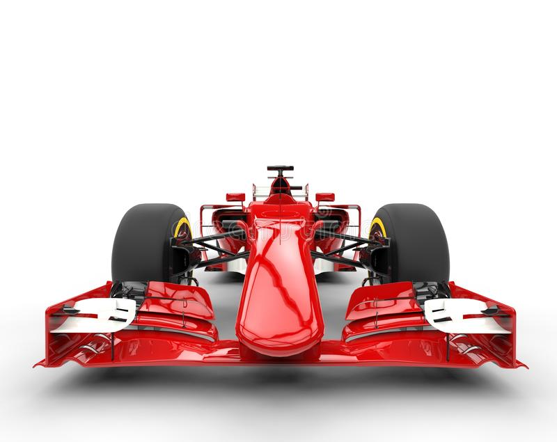 Red formula one car - front view. Extreme closeup royalty free stock photos