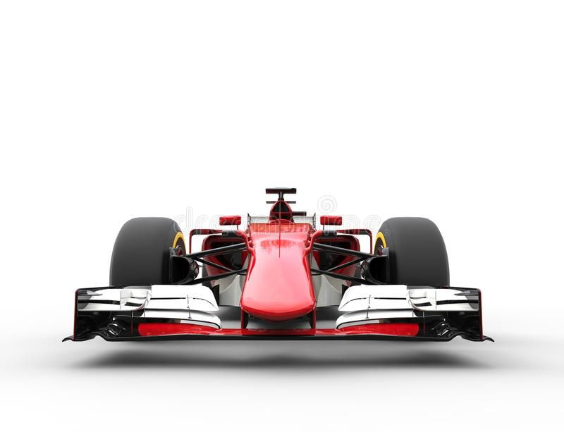 Red Formula One Car - Front View Extreme Closeup. Red Formula One Car - Front View - isolated on white background stock image
