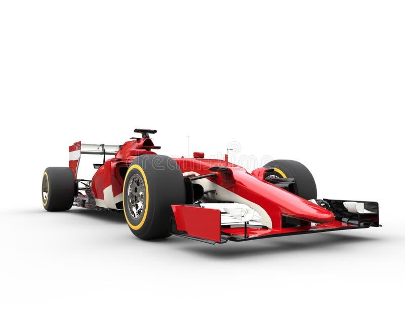 Red Formula One Car - Low View Closeup. Shot stock photo
