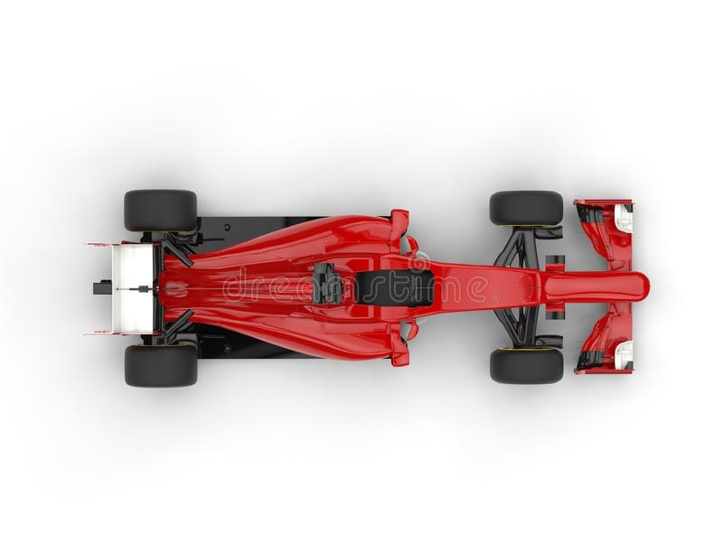 Red formula one car with white tail wing - top view. Isolated on white background royalty free stock images