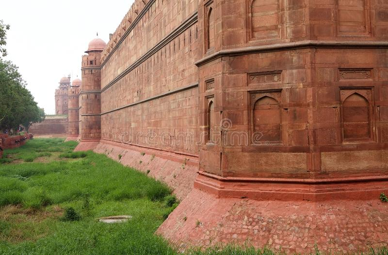 The Red Fort in Delhi, India. It is a historical fort in the city of Delhi in India. The fort was the residence of the emperors of the Mughal dynasty for royalty free stock images