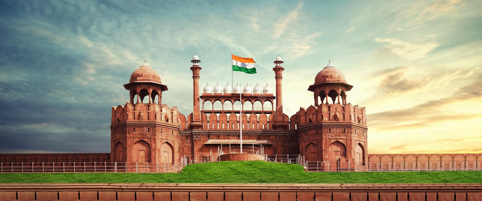 Red Fort delhi india. Red Fort is a historic fort in the city of Delhi in India. It was the main residence of the emperors of the Mughal dynasty for nearly 200 stock image