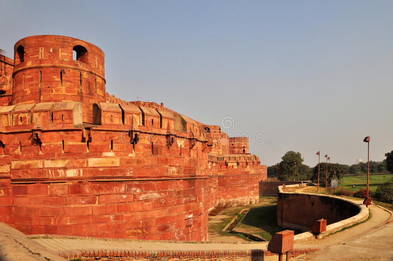 Red Fort Entrance and Surrounding Moat stock photo