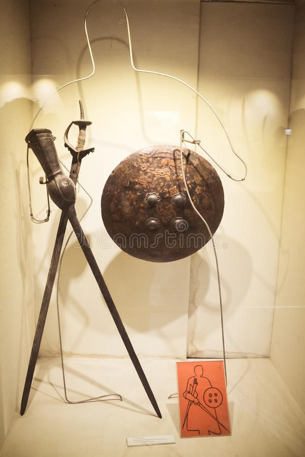Red Fort Museum of Arms and Weapons, New Delhi, Jul 21, 2018: Arms and Weapons Showcased here in Galleries includes Arrows, Swords. Revolvers, Machine Guns royalty free stock photography