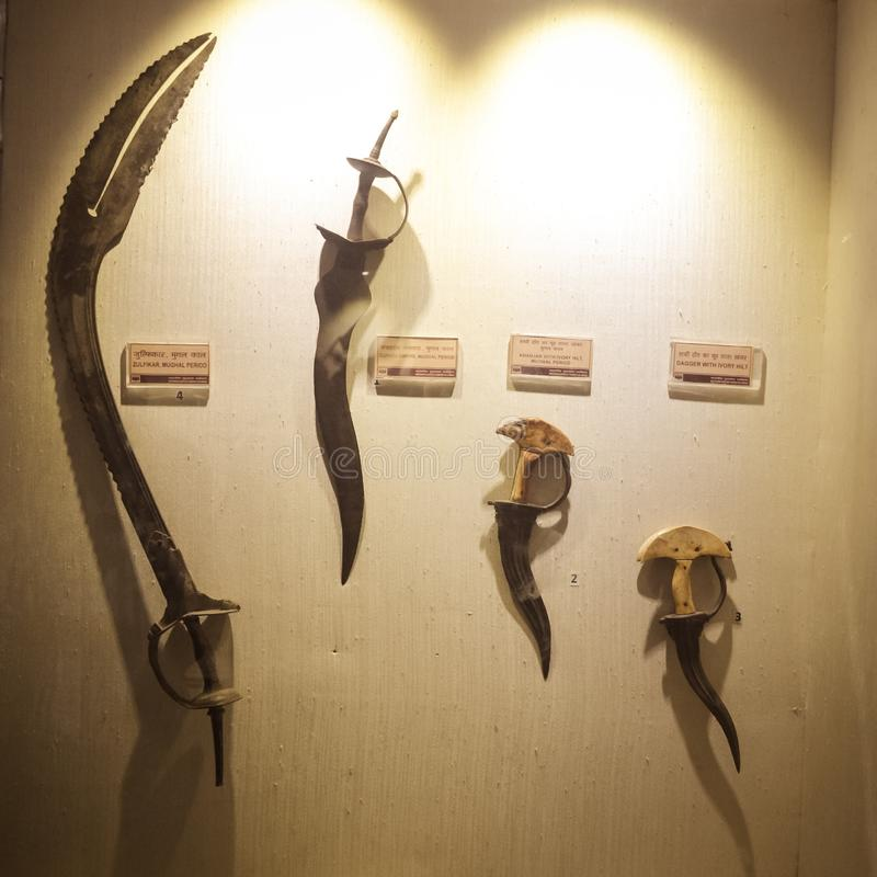 Red Fort Museum of Arms and Weapons, New Delhi, Jul 21, 2018: Arms and Weapons Showcased here in Galleries includes Arrows, Swords. Revolvers, Machine Guns stock images