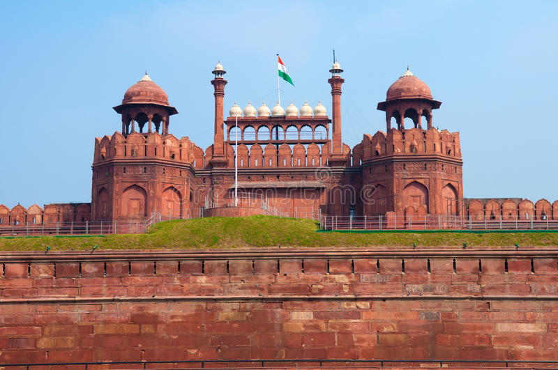Red Fort of New Delhi, India. Built by the mughal empire stock photos