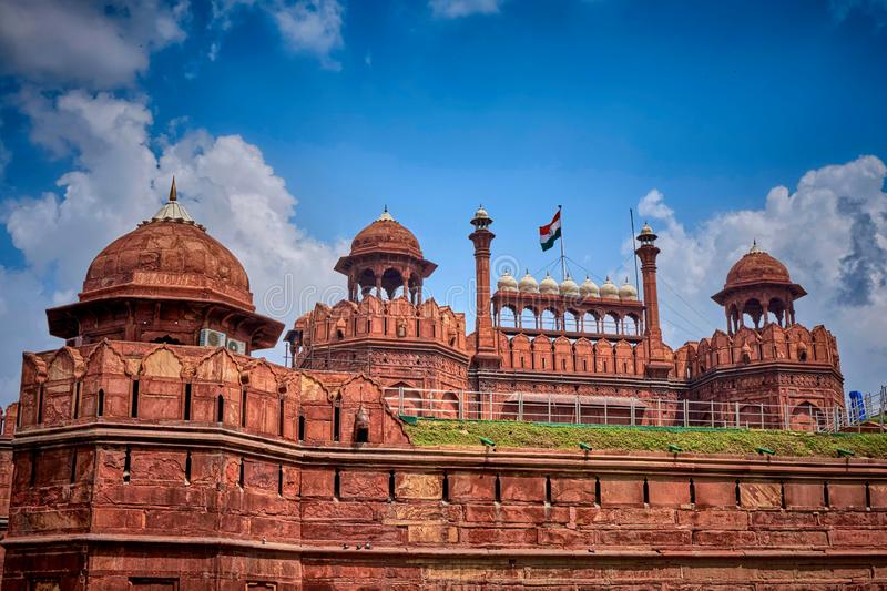 Red Fort New Delhi India. Red Fort, New Delhi, India,wall,stone,castle,fort,attraction, indian architecture,UNESCO,architecture,palace,heritage,facade, culture stock image