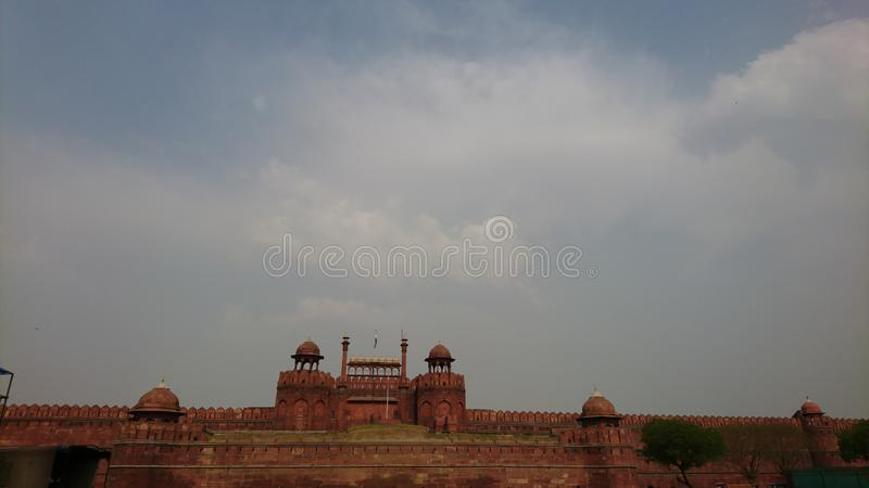 The Red Fort in OLd Delhi INDIA. The Red Fort is a historic fort in the city of Delhi in India.Emperor Shah Jahan commissioned construction of the Red Fort on 12 stock image