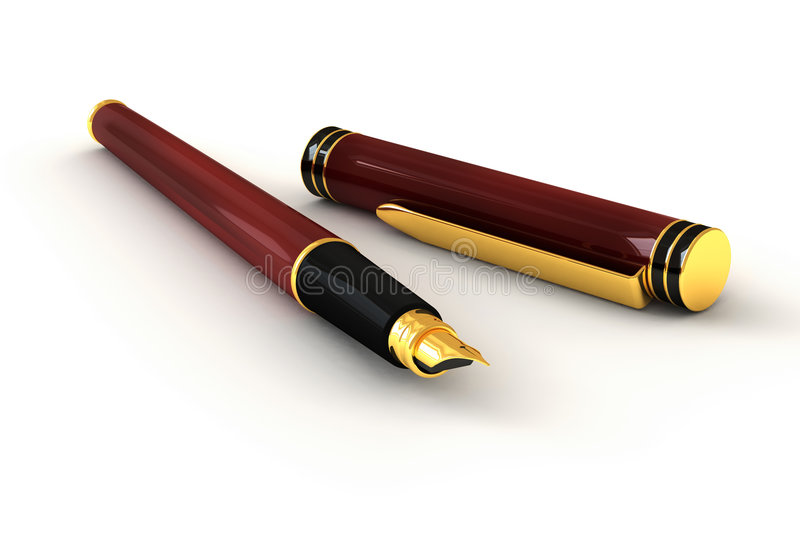 Red Fountain Pen royalty free illustration