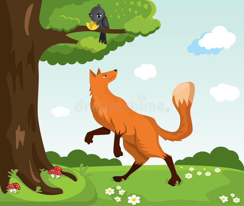 Red fox and crow with cheese. Funny characters. royalty free stock images
