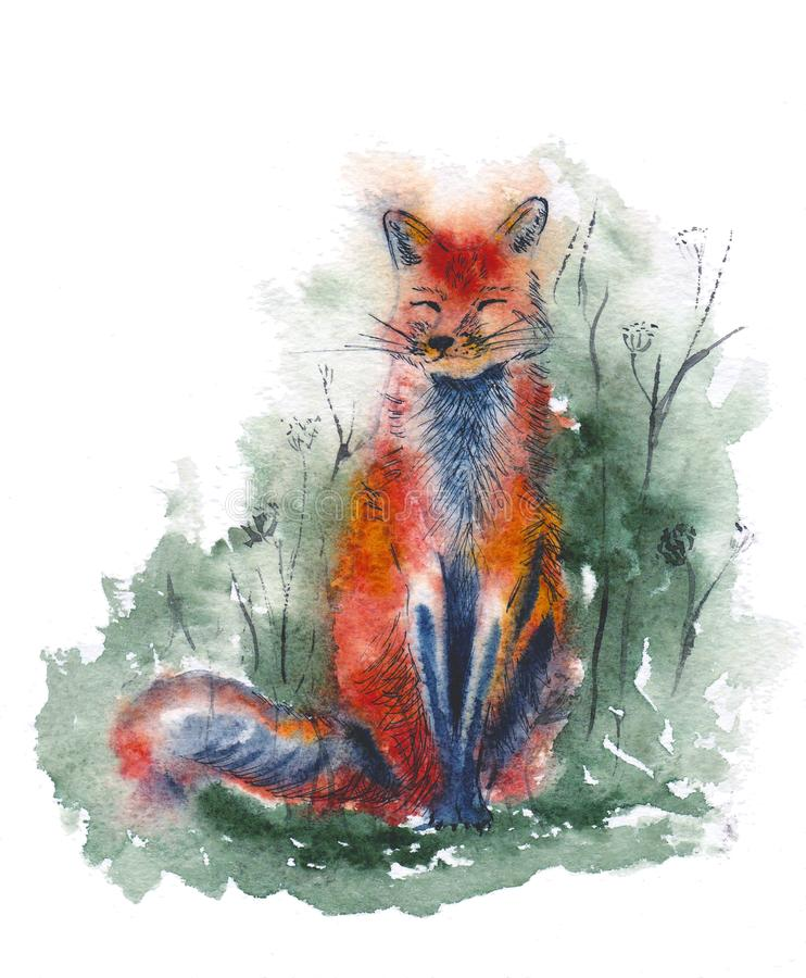 Red fox in forest. Watercolor illustration. Cute sitting animal. royalty free illustration