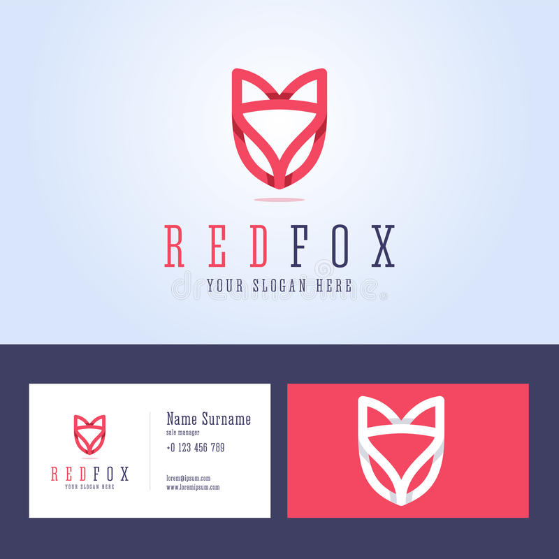Line Card Examples: Red Fox Logo And Business Card Template. Stock Vector