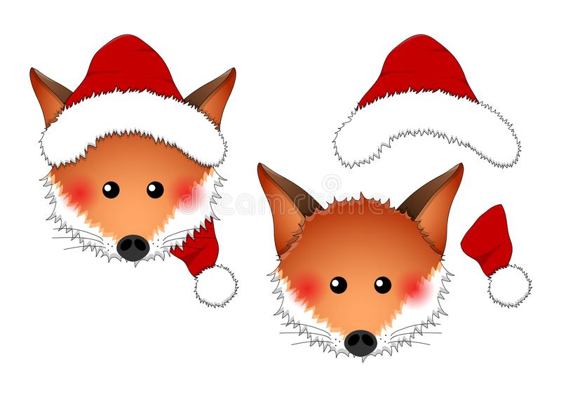 Red Fox Santa Claus isolated on White Background. Vector Illustration.  royalty free illustration
