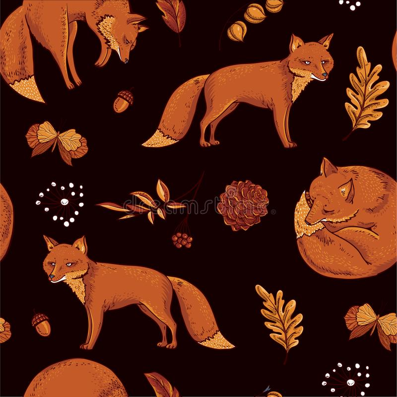 Red fox seamless pattern, autumn orange leaves. Vector vintage hand drawn texture vector illustration