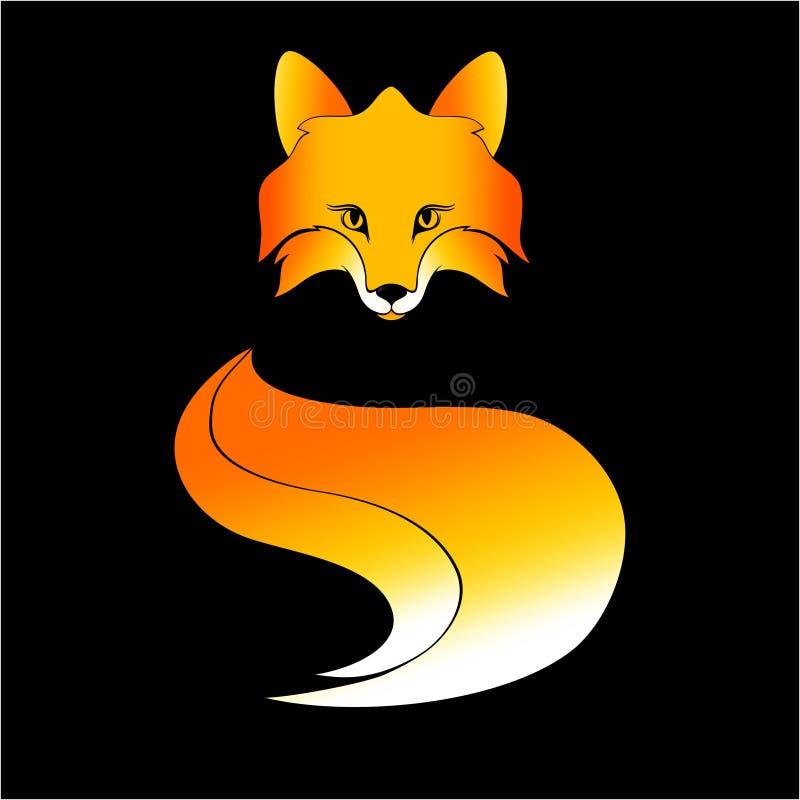 Red fox simbol. Symbol color red fox on black background