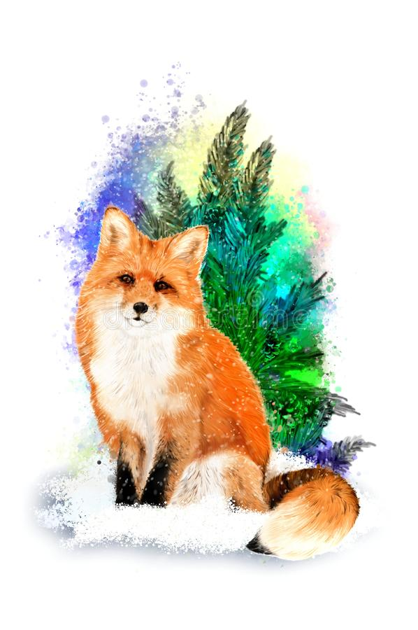 Red fox on abstract background. royalty free stock photography