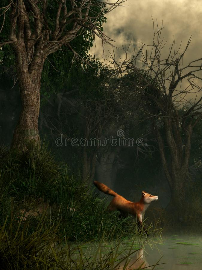 Swamp Fox. A red fox stands in long grass at the edge of a hazy green pond lined with twisted trees in a dense swamp. This small predator appears to be startled vector illustration