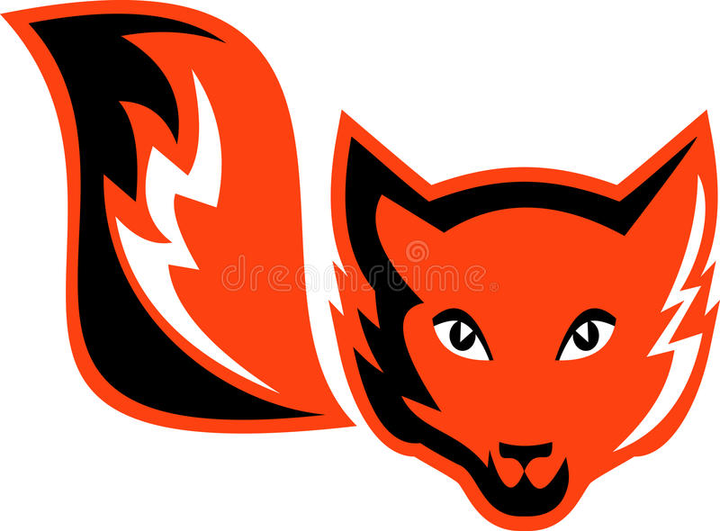 Red fox with tail. Imagery shows a red fox with tail done in two (2) colors royalty free illustration