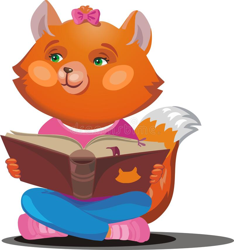Red Fox with a textbook. Vector illustration royalty free stock photos
