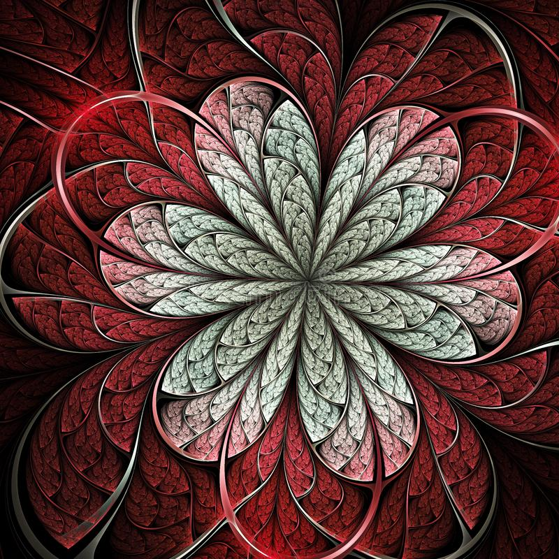 Red fractal flower. Digital artwork for creative graphic design stock illustration