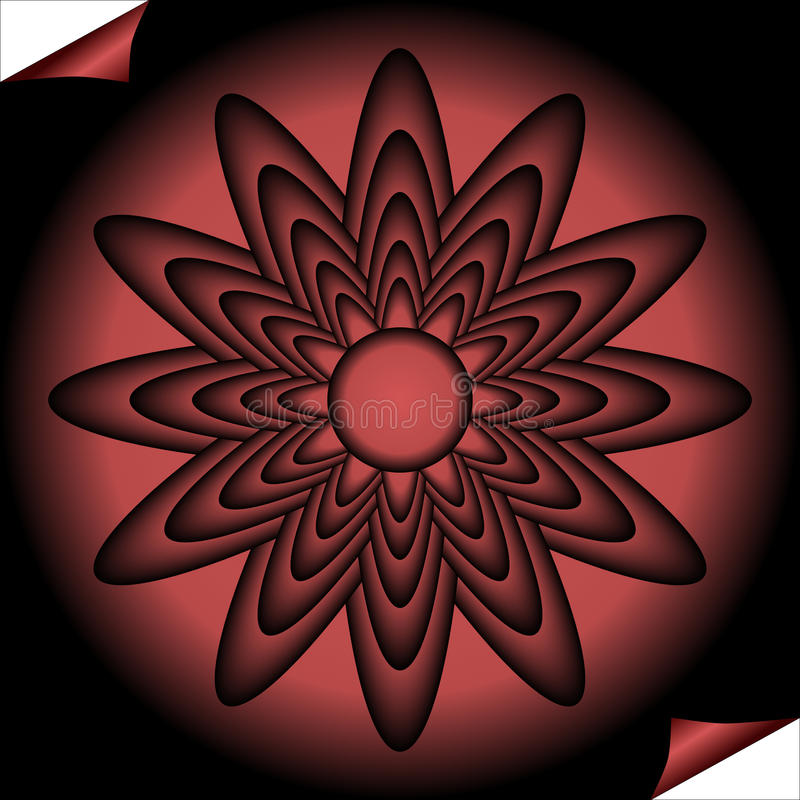 Red fractal inspired flower in circle shape on black background, optical art style royalty free illustration