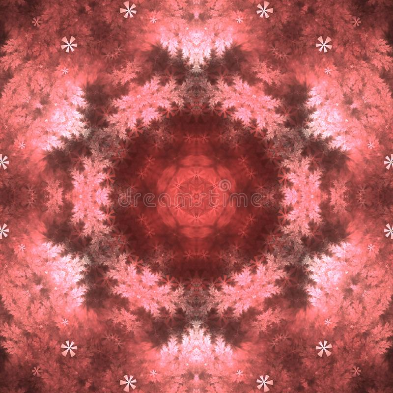 Red fractal mandala. Digital artwork for creative graphic design stock illustration