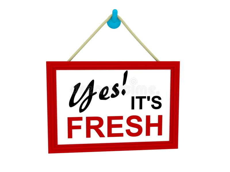 Red frame hanging sign Yes is Fresh stock illustration
