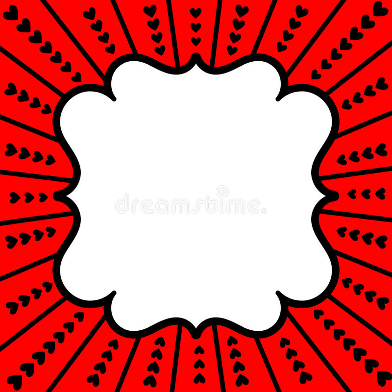 Red Frame Hearts Valentines Day Card royalty free stock image