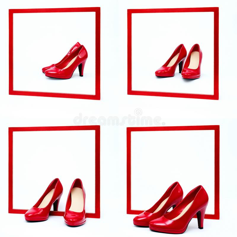 Red frame with high heels. In front of white background royalty free stock photo