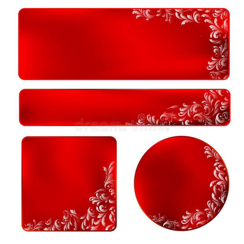 Download Red Frame With White Ornament Stock Vector - Image: 25175932