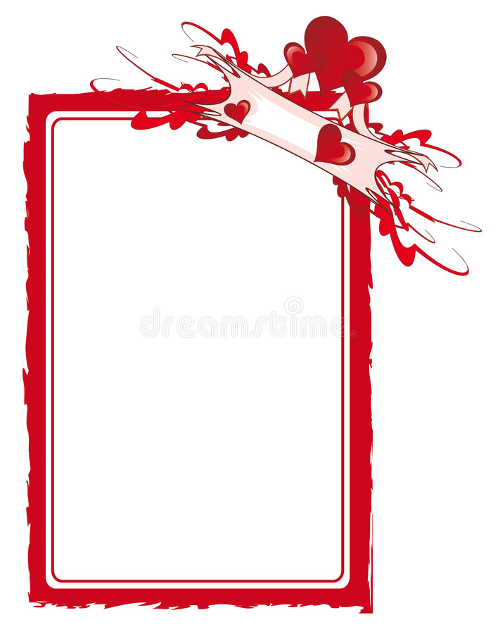 Red framework with hearts stock illustration