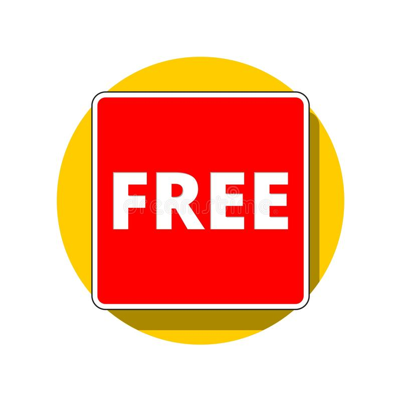 Red Free sign on yellow circle royalty free illustration