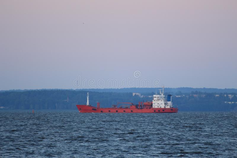 Red freighter royalty free stock photo