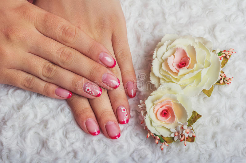 Red French Nail Art With Flower Stock Image Image Of Holiday