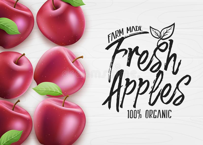 Red Fresh Apples Farm made Organic 3D Realistic Banner Top View stock abbildung