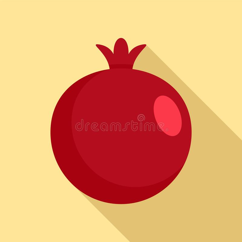 Red fresh eco pomegranate icon, flat style vector illustration