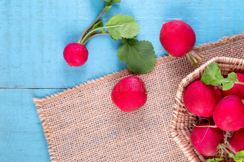 Red fresh radish on wooden royalty free stock photography