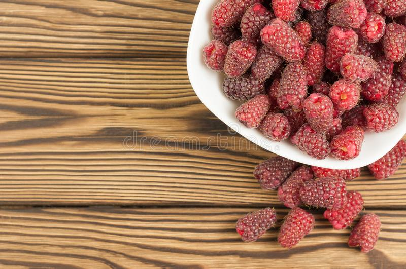 Red fresh raspberries in bowl royalty free stock photography