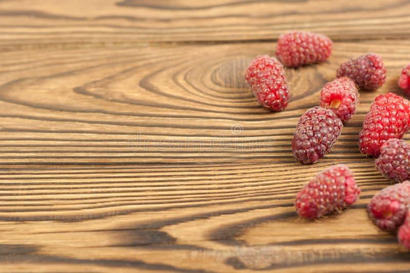 Red fresh raspberries stock photo