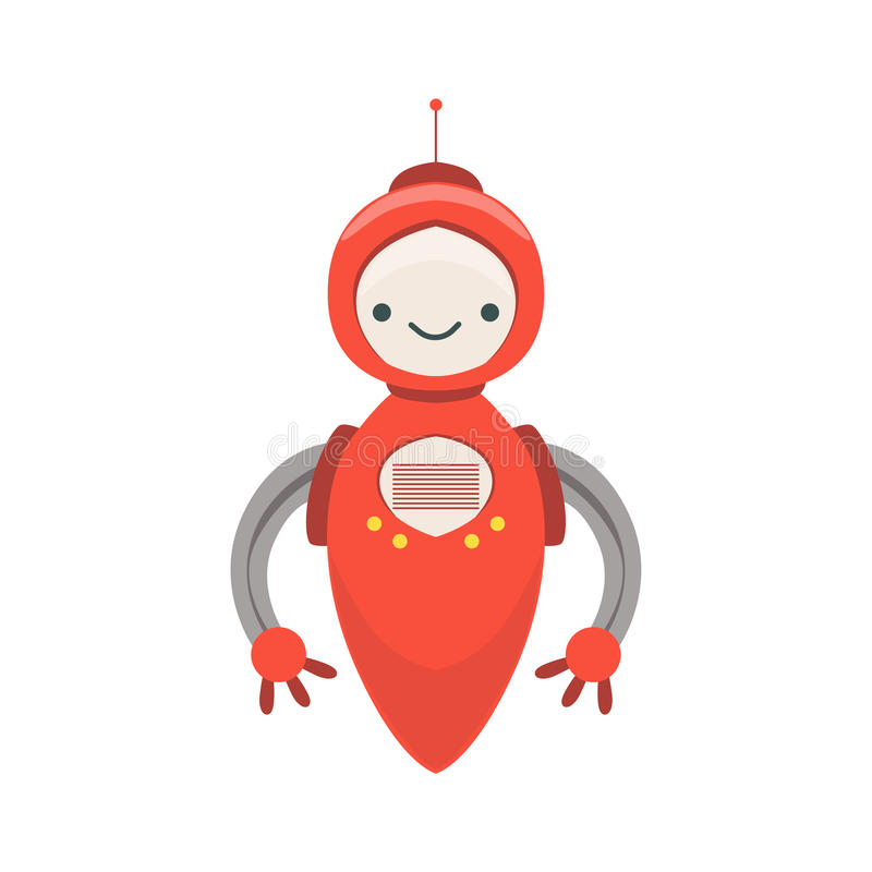 Red Friendly Android Robot Character Without Legs Vector Cartoon Illustration. Futuristic Bionic Person Portrait In Childish Manner, Part Of Fantasy Droids stock illustration