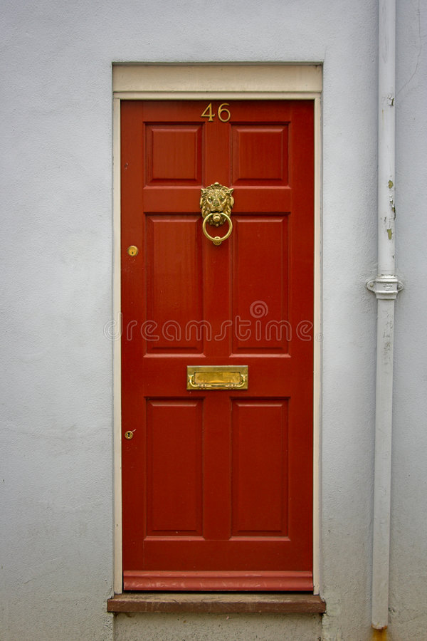 Red front door stock photos