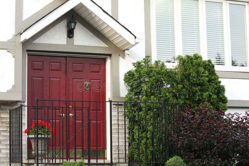 Download Red Front Door stock image. Image of front, entrance, brick - 7733783