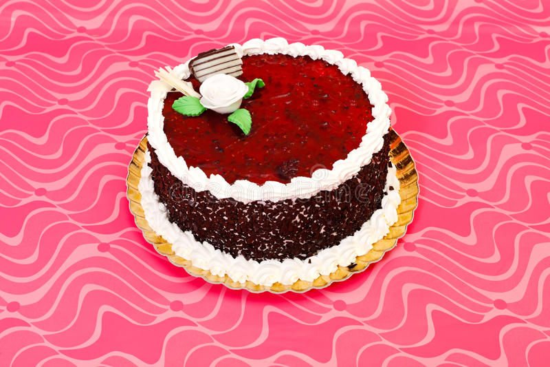 Fruit And Jelly Cake Recipe: Red Fruit Jelly Cake Stock Photo. Image Of Cakes, Cream