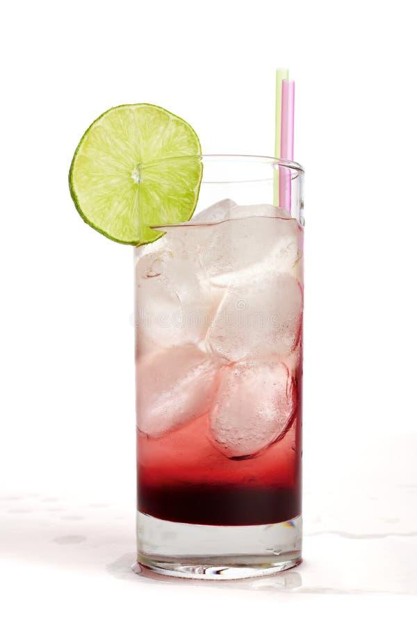 Red fruit juice with lemon stock image