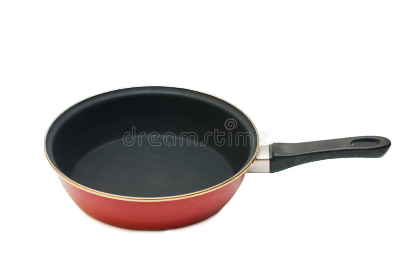 Red Frying Pan Isolated Over White Stock Photography