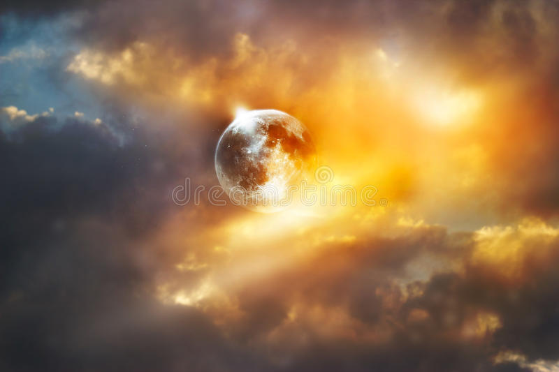 Red full moon on the colorful vibrant sky royalty free stock image