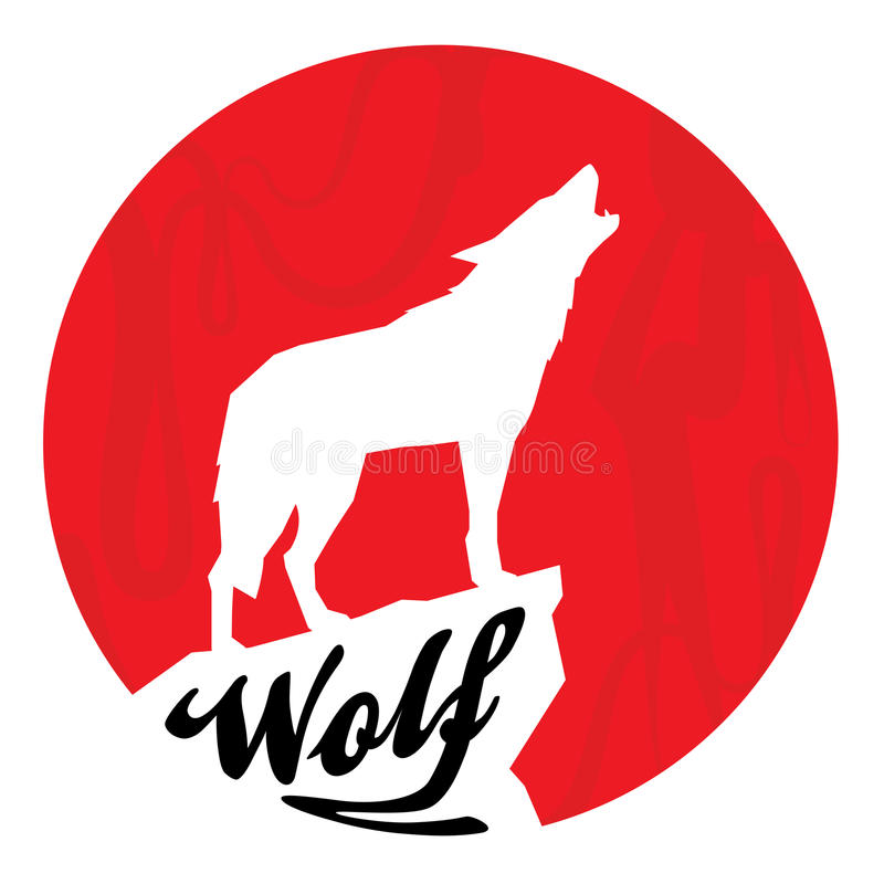 Red full moon with howling wolf silhouette vector illustration