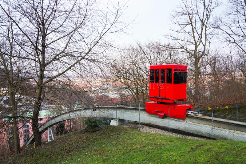 Red funicular rides from Smichov to Mrazovka park in Prague, Czech Republic stock photos