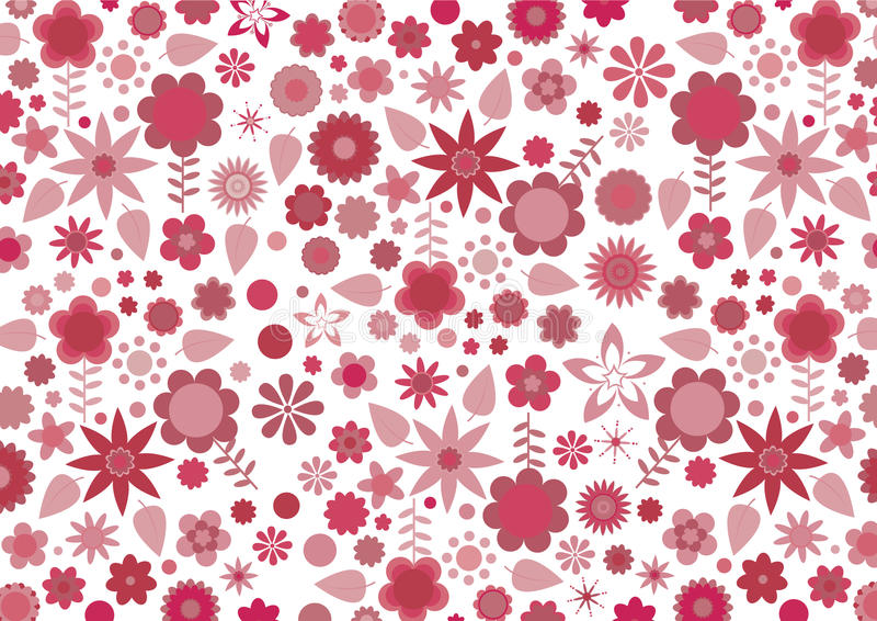 Red funky flowers and leaves. Vector illustration of red funky flowers and leaves retro pattern on white background royalty free illustration